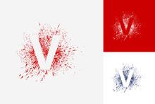 Letter V Splash Grunge Logo Template Design Vector, Emblem, Design Concept, Creative Symbol, Icon