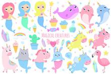 Magical Creatures. Narwhal, Unicorn Mermaid,bunny Mermaid, Cat Mermaid, Pegasus, Magical Items Vector Illustration
