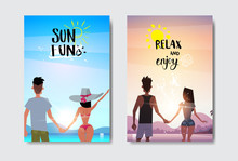 Set Man Woman Couple Holding Hands Looking Sunrise Sunset Beach Rear View Summer Vacation Design Label Lettering For Logo,Templates, Invitation, Greeting Card, Prints And Posters. Vector Illustration