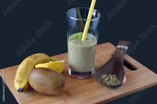 Fotografie, Obraz  fruit shake with kiwi, banana, hemp protein and lemon juice