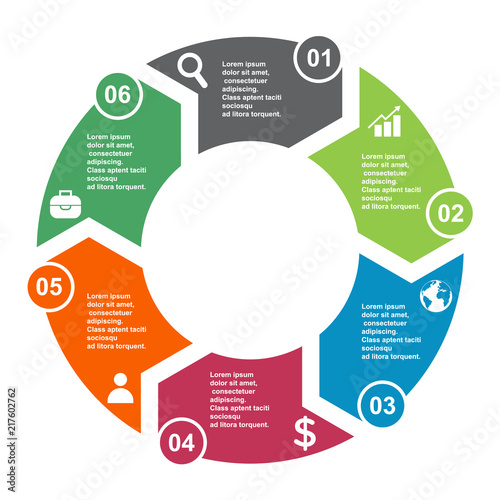 Photo  6 step vector element in six colors with labels, infographic diagram