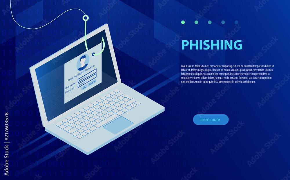 Fototapeta Login into account and fishing hook. Internet phishing, hacked login and password.