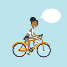 African American Woman Cycling...