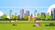 Urban Park Outdoors City Buildings Street Lamps Cityscape Concept Horizontal Flat Vector Illustration