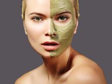 Beautiful Woman Applying Green Facial Mask. Beauty Treatments. Close-up Portrait Of Spa Girl Apply Clay Facial Mask