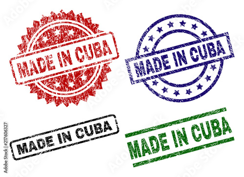 Photo MADE IN CUBA seal prints with damaged surface