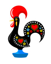 Barcelos Portuguese Rooster. Symbol Of Portugal. Vector Flat Illustration.