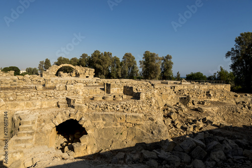 Saranta Kolones castle excavated ruins in Paphos Archaeological Park, Cyprus