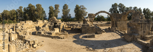 Foto op Canvas Cyprus Panorama of Saranta Kolones ancient fortress ruins in Paphos Archaeological Park, Cyprus