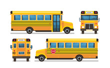 Yellow School Bus Front Side Rear View Pupils Transport Concept On White Background Flat Horizontal Vector Illustration