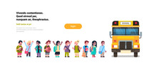 Group Pupils Children Go In Yellow School Bus Transport Concept On White Background Flat Copy Space Horizontal Vector Illustration