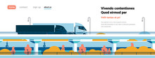 Highway Semi Trucks Trailers Driving Over Modern City Buildings Banner Flat Copy Space Vector Illustration