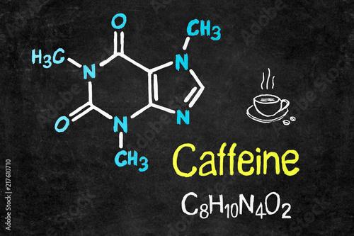 Fototapeta Handwritten chalk chemical formula of Caffeine on school blackboard. obraz