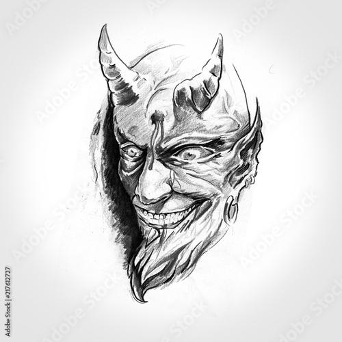 Canvas Print devil, handmade tattoo drawing