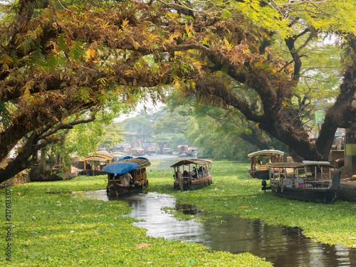 Houseboats on the backwaters of Kerala in Alappuzha (Alleppey) Canvas Print