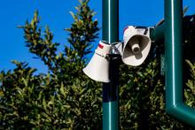 Public Address Bullhorn Outdoor Speakers On A Green
