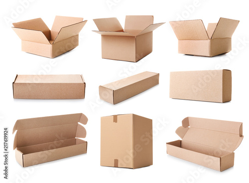 Fotografía  Collection of various cardboard boxes on white background