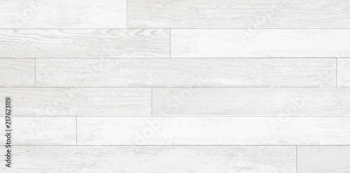 Poster Bois Old weathered wood surface with long boards lined up. Wooden planks on a wall or floor with grain and texture. Light neutral flat faded tones.