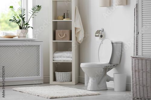 Obraz na plátně Toilet bowl in modern bathroom interior