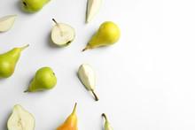 Fresh Pears On Light Backgroun...