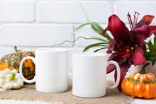 Two Coffee Mug Mockup With Pum...