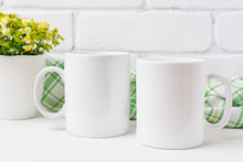 Two Coffee Mug Mockup With Yel...