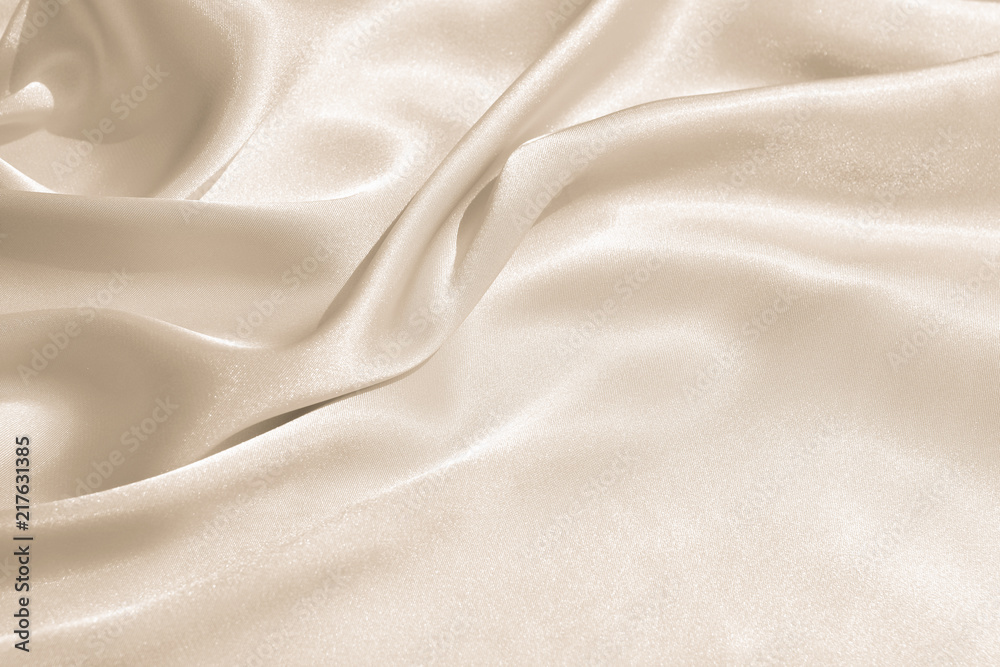 Fototapety, obrazy: The texture of the satin fabric of beige color for the background