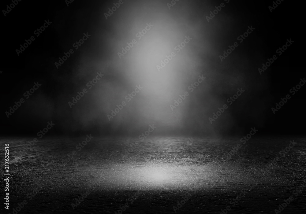 Fototapety, obrazy: Background of an empty dark room. Empty walls, lights, smoke, glow, rays