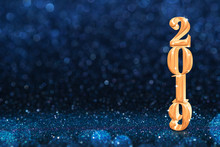 2019 Golden New Years 3d Rendering At Abstract Sparkling Dark Blue Glitter Perspective Background Studio.luxury Holiday Backdrop.mock Up Banner For Display Of Product