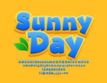 Vector Bright Sign Sunny Day. Decorative Alphabet Letters, Numbers And Symbols For Children