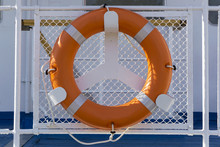 Orange Lifebuoy Fixed On Board...