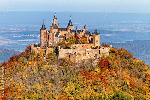 Obraz View of Hohenzollern Castle in the Swabian Alps - Baden-Wurttemberg at autumn, Germany. - fototapety do salonu