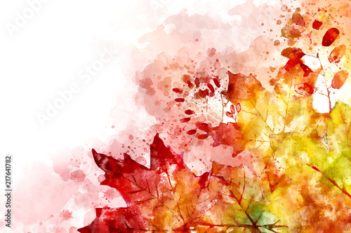 Obraz Illustration of fall image. Autumn background with yellow and red maple leaves. Digital watercolor painting. - fototapety do salonu