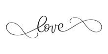 Love You Postcard. Phrase Calligraphy For Valentine's Day. Vector Ink Illustration. Modern Brush Calligraphy. Isolated On White Background