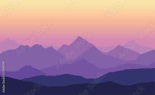 Printed kitchen splashbacks Purple Vector illustration of mountain landscape with multiple layers, fog and yellow purple sky