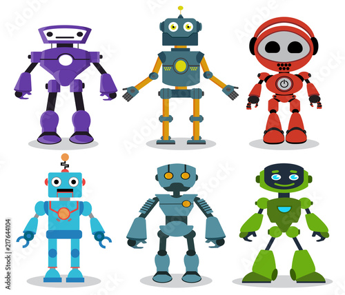 Deurstickers Robots Robot toys vector cartoon characters set with modern and friendly looks for games and design elements isolated in white background. Vector illustration.