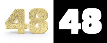 Golden Number Forty Eight (number 48) On White Background With Drop Shadow And Alpha Channel. 3D Illustration