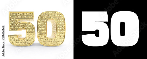Photographie  Golden number fifty (number 50) on white background with drop shadow and alpha channel