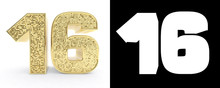 Golden Number Sixteen (number 16) On White Background With Drop Shadow And Alpha Channel. 3D Illustration