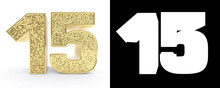 Golden Number Fifteen (number 15) On White Background With Drop Shadow And Alpha Channel. 3D Illustration