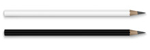 Vector Realistic Image (mock-up, Layout) Of Two Pencils, Black And White, Top View. Template For Your Logo. The Image Was Created Using Gradient Mesh. Vector EPS 10.