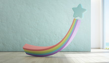 Rainbow Toy On Wooden Floor Of Sea View Kids Room With Empty Rough Blue Concrete Texture Wall Background In Luxury Summer Beach House Or Vacation Home. Modern Design Interior 3d Illustration.