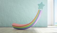 Rainbow Toy On Wooden Floor Of...