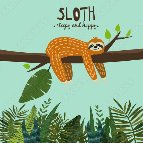 Cute funny sloth hanging on the tree Wallpaper Mural