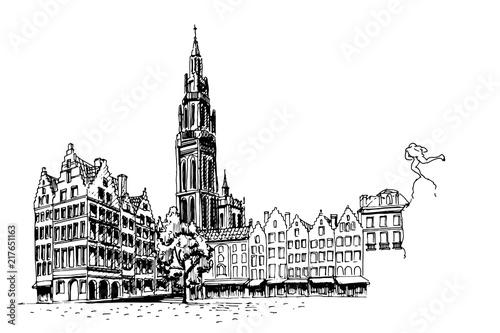 Keuken foto achterwand Antwerpen PVector sketch of Famous fountain with Statue of Brabo in Grote Markt square in Antwerpen, Belgium.