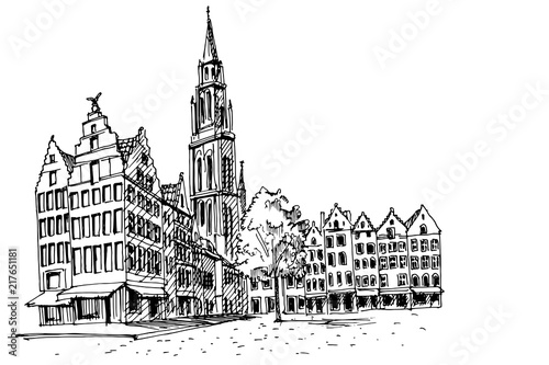 Poster Antwerp PVector sketch of Famous fountain with Statue of Brabo in Grote Markt square in Antwerpen, Belgium.