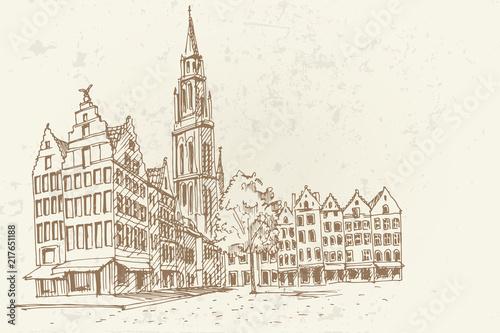 Staande foto Antwerpen PVector sketch of Famous fountain with Statue of Brabo in Grote Markt square in Antwerpen, Belgium.