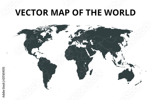 Garden Poster Retro sign World map with borders. Vector illustration.