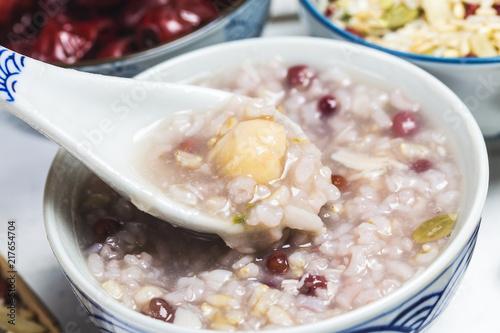 Eight Treasure Congee on traditional chinese festive porridge,