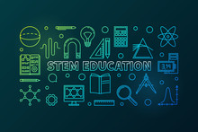 STEM Education Vector Outline Colored Horizontal Banner